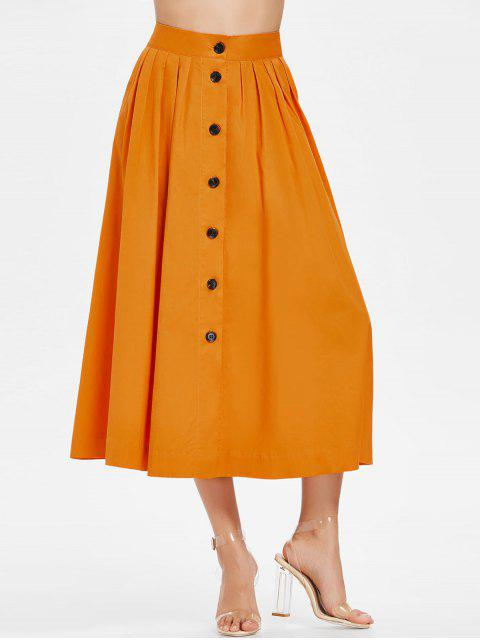 outfit Button Up Tea Length Skirt - CANTALOUPE M Mobile