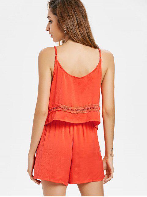 Camisole et Short en Ensemble avec Bordures en Crochets - Orange vif L Mobile