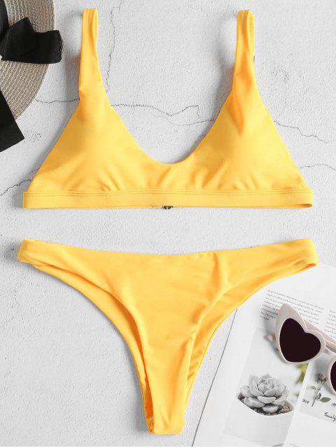 shops Padded Bralette Bikini Set - BRIGHT YELLOW S Mobile