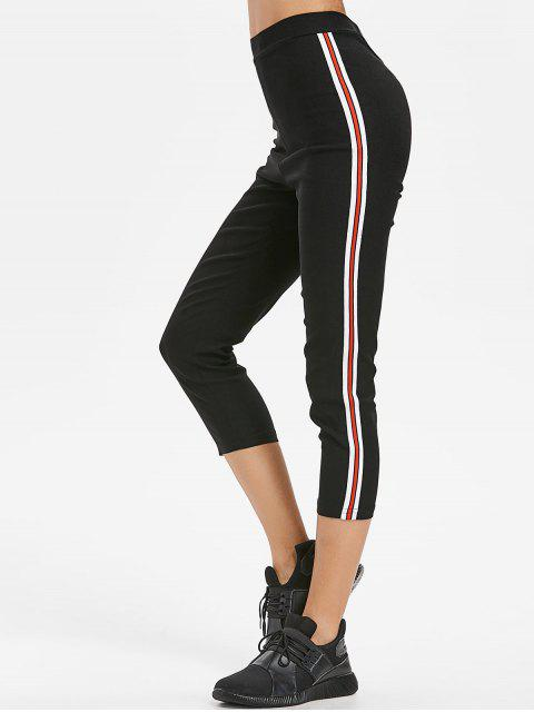Pantalones Capri Rayados Patched - Negro L Mobile