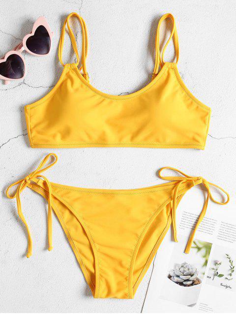 Juego de Bikini de tirantes dobles con lazo lateral - Amarillo Brillante L Mobile
