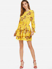 Amarillo M Con Estampado Estampado Vestido Floral qBnwAx