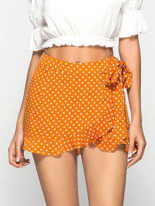 Flowy Polka Dot Ruffled Skorts - البابايا البرتقال M