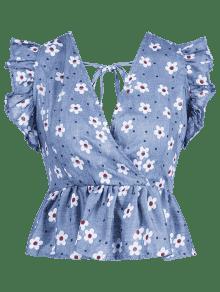 Azul Peplum Xl Floral Con Denim Con Volantes Mangas Estampado Sin Top fq8wxHCR