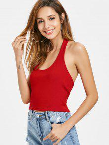 Halter Camiseta Con Tirantes Rojo M Sin Mangas Acanalada XwfXq