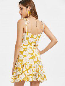 Vestido Estampado Anudadas Cami De 243;n Dorado M Flores De Marr UwCUnrqOE