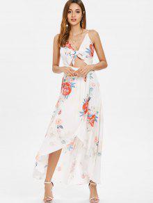Asim Blanco Delantero Floral S Lazo Vestido Con 233;trico 8fqcF