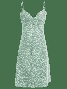 Lateral S Camisero Verde Floral Con Cremallera Vestido xwzq67Uq