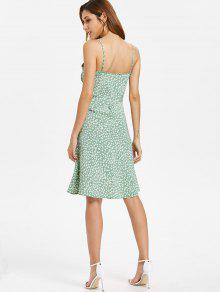 Lateral Vestido Verde Con S Floral Cremallera Camisero qww4zaIv