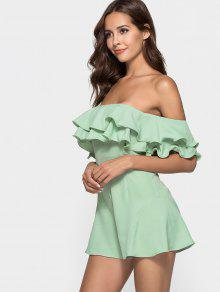 801dfecb4557ee 31% OFF  2019 Ruffle Off The Shoulder Romper In FROG GREEN