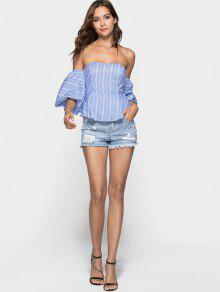 af91252dbc117 55% OFF  2019 Striped Tube Peplum Top With Balloon Sleeves In SKY ...