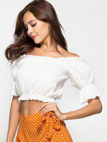 4bb15f508cecc 57% OFF  2019 Ruffle Off The Shoulder Crop Top In WHITE