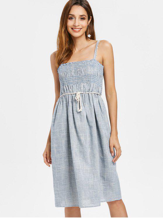 فستان سترابي سموكد المنسوج ميدي - أزرق M