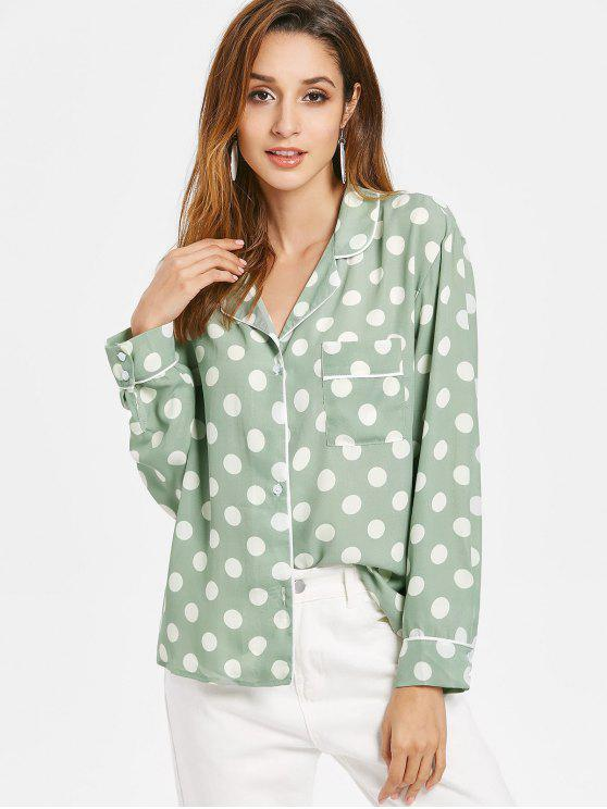 Geflicktes Tasche Polka Punkt Pyjama Shirt - Grün S