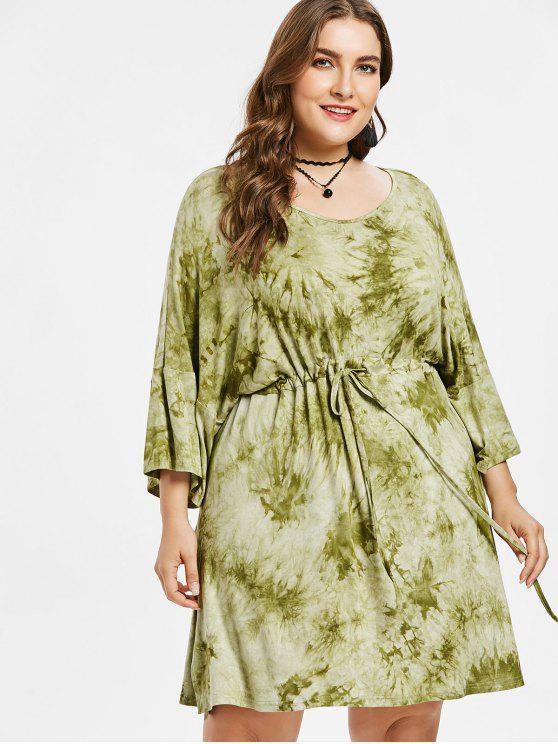 Vestido de teñido anudado de la raya más el tamaño - Verde de Aguacate  1X