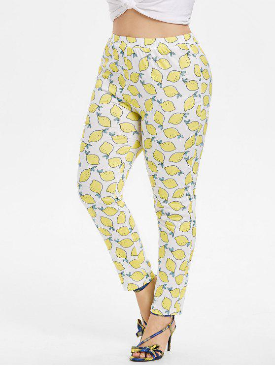 Pantalon Skinny Motif Citrons Grande-Taille - Blanc 2X