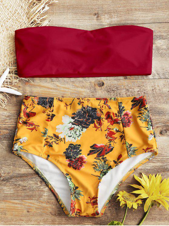 Bandeau Top y florales de cintura alta Swim Bottoms - Rojo L