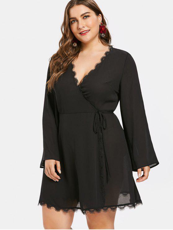 Plus Size Eyelash Trim Flare Sleeve Wrap Dress BLACK
