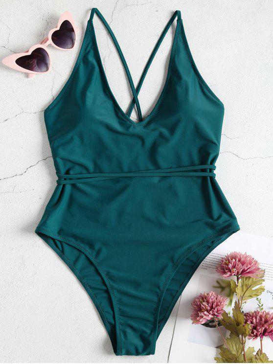 Maiôs Plus Size High Cut One Piece Swimsuit - Azul-Esverdeado 2X