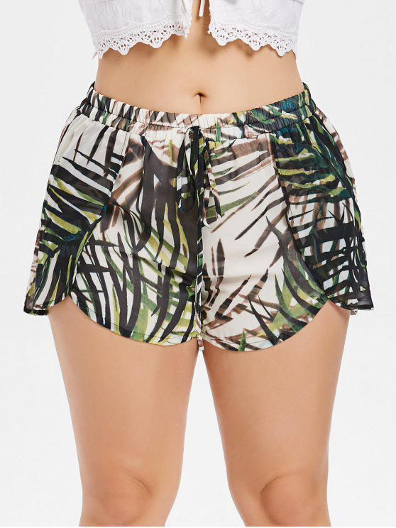 ladies Plus Size Leaves Overlay Shorts - HAZEL GREEN 4X