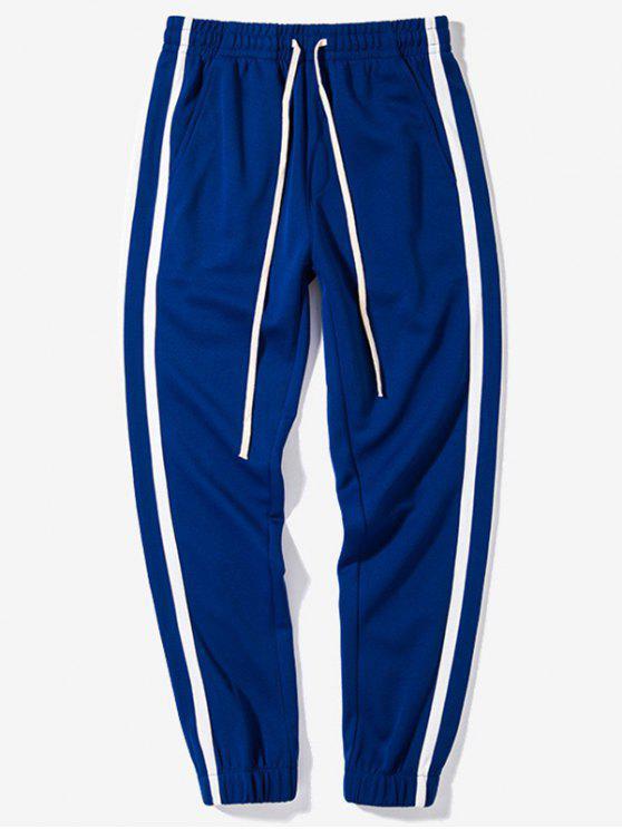 Pantalon Décontracté Rayé en Couleur Contrastée à Taille Elastique - Bleu Terre S