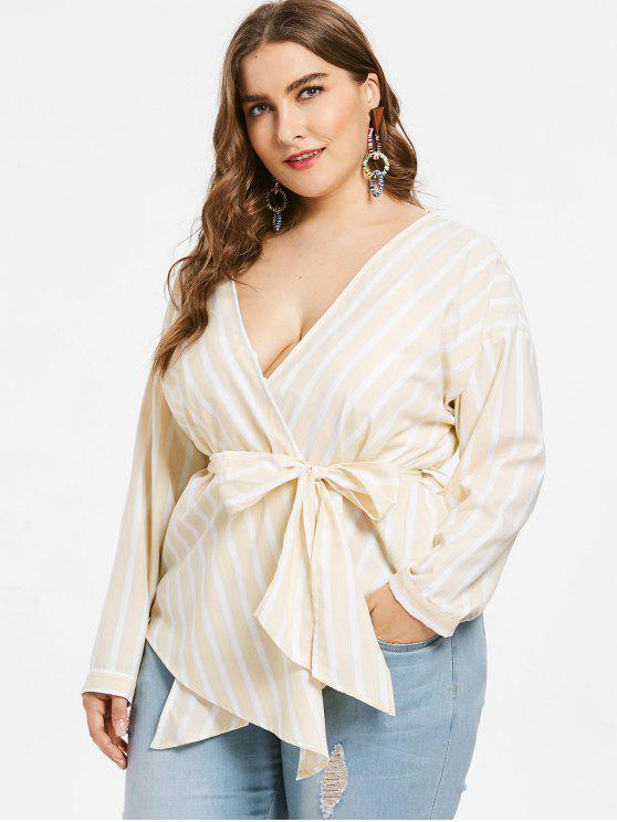 affordable Plus Size Striped Belted Wrap Blouse - CORNSILK L
