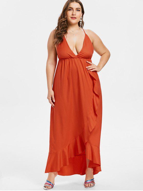 Plus Size Cross Strap Ruffles Cami Dress SHOCKING ORANGE