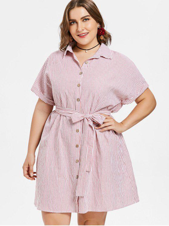 2018 Plus Size Belted Stripe Shirt Dress In Multi 2x Zaful