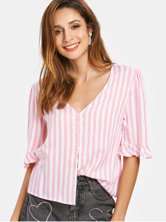 Puff Ärmel Rüschen Gestreiftes V-Ausschnitt Shirt - Schwein Rosa S