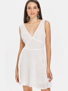 Plunging Neck Low Back Dress - White L