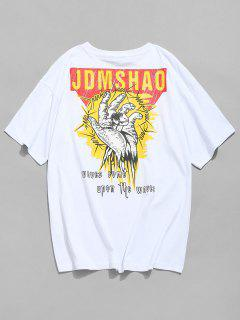 Slogan Print Graphic Tee Shirt - White M