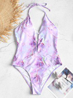 High Cut Tie Dye Backless Swimsuit - Mauve M