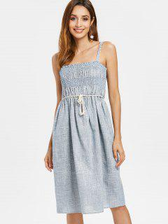 Strappy Smocked Woven Midi Dress - Blue S
