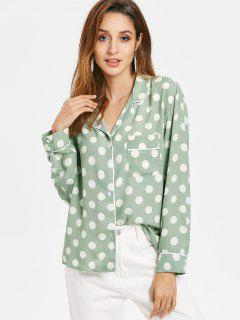 Patch Pocket Polka Dot Pajama Shirt - Green S