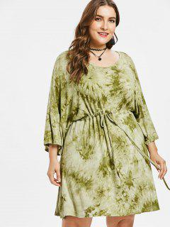 Plus Size Slit Tie Dye Dress - Avocado Green 1x