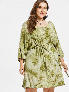 Plus Size Schlitz Tie Dye Kleid - Grüne Avocado 3x