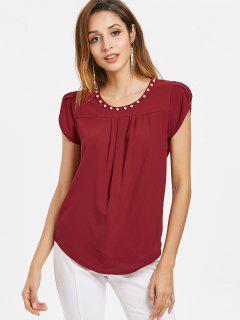 Petal Sleeves Beaded Blouse - Red Wine Xl