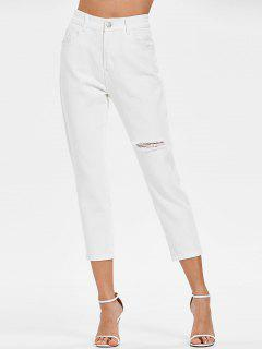 High Waisted Ripped Cropped Jeans - White L