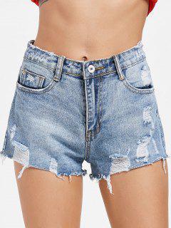 Ausegschnittene Zerstörte Denim Shorts - Jeans Blau Xl