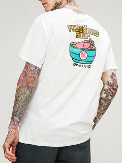 Funny Graphic Chinese Character Printed T-shirt - White L
