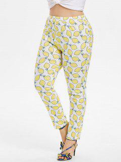 Plus Size Lemons Skinny Pants - White 2x