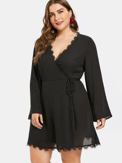 Plus Size Eyelash Trim Flare Sleeve Wrap Dress - Black 2x