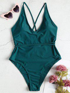 Plus Size High Cut One Piece Swimsuit - Greenish Blue 2x
