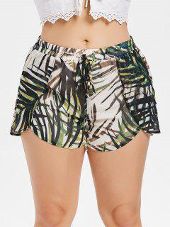 Plus Size Leaves Overlay Shorts - Hazel Green 1x