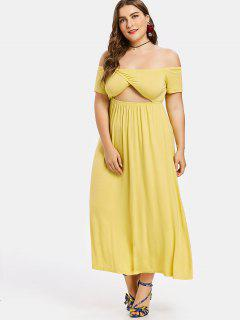 Plus Size Off Shoulder Midi Dress - Yellow 1x