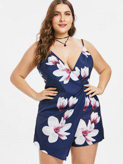 Plus Size Flowers Cami Plunge Romper - Deep Blue 3x