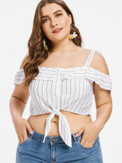 Plus Size Stripe Cold Shoulder Crop Top - White 2x