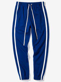 Elastic Waist Contrast Color Striped Casual Pants - Earth Blue M