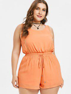 Plus Size Drawstring Tank Romper - Orange Pink 3x