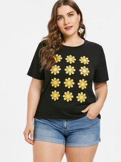 Flower Print Plus Size Tee - Black L